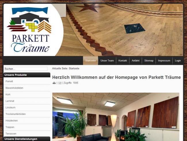 Webdesign für Parkett Träume Coburg